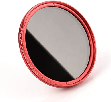 FocusFoto Fotga 67mm Ultra Slim Variable Fader ND2-ND400 Neutral Density ND Filter Adjustable ND2 ND4 ND8 ND16 ND32 ND100 to ND400 for Canon Nikon DSLR Camera Lens with Red Frame Ring