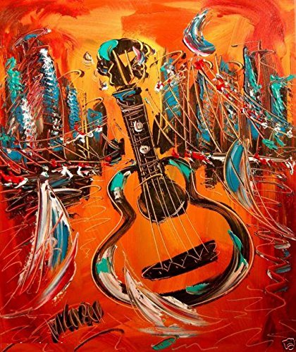 GUITAR Art for Sale By Artist Mark Kazav Ready to Display Palette Knife Texture Impressionist Fine Art Gallery Red Blue Black Green Earthy Wall Decor