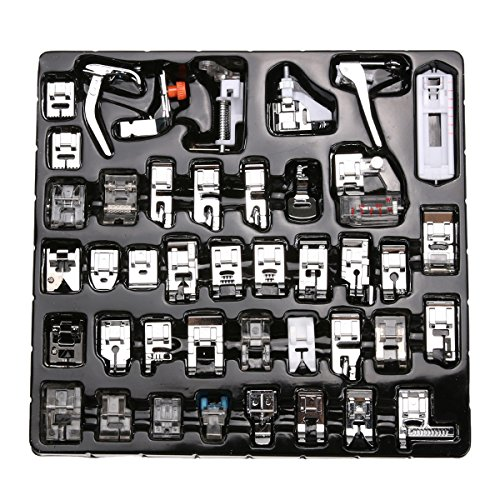 SIMPZIA 42 Pieces Domestic Sewing Machine Presser Feet Kit Set for Brother, Babylock, Janome, Singer,Elna,New Home, Simplicity, Necchi, Kenmore, White and Other Low Shank Sewing Machines