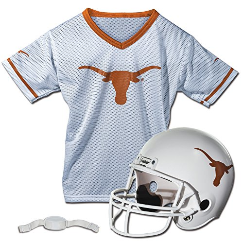 Texas Jersey Football Longhorns (Franklin Sports NCAA Texas Longhorns Football Helmet and Jersey Set)
