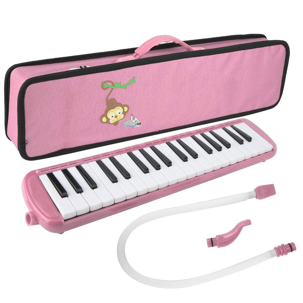 Bnineteenteam 37 Piano Keys Melodica Pianica Tube Long Flexible Melodica Tube with Mouthpiece Blowpipe Carrying Bag(Pink) by Bnineteenteam
