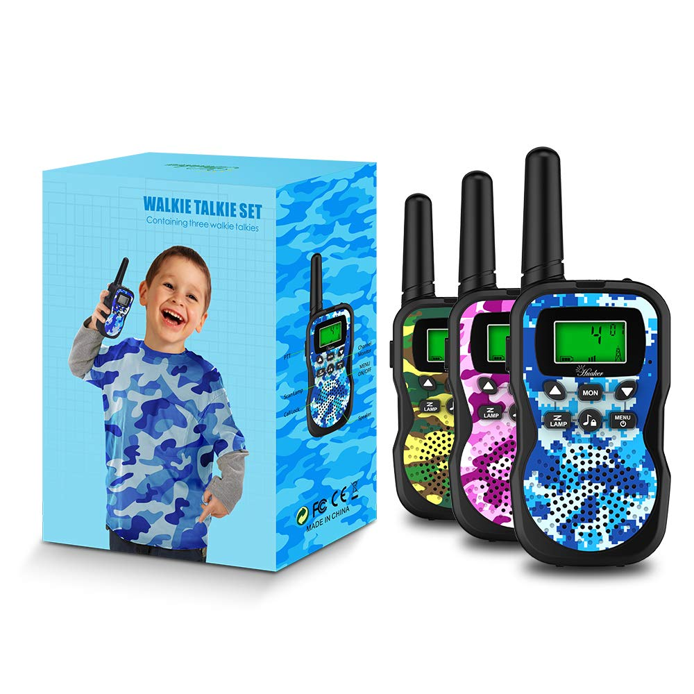 Huaker Kids Walkie Talkies,3 Pack 22 Channels 2 Way Radio Toy with Flashlight and LCD Screen ,3 Miles Range Walkie Talkies for Kids Outside Adventures, Camping, Hiking by Huaker (Image #7)