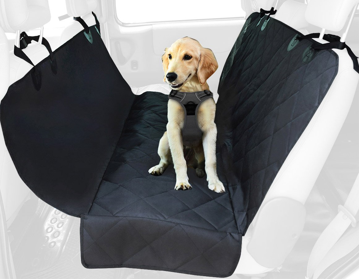 Black Best Pet Supplies Water Resistant Back Seat Cover for Dogs with Predective Pouch   Nonslip Backseat Predector for Cars, SUVs & Trucks (Black)