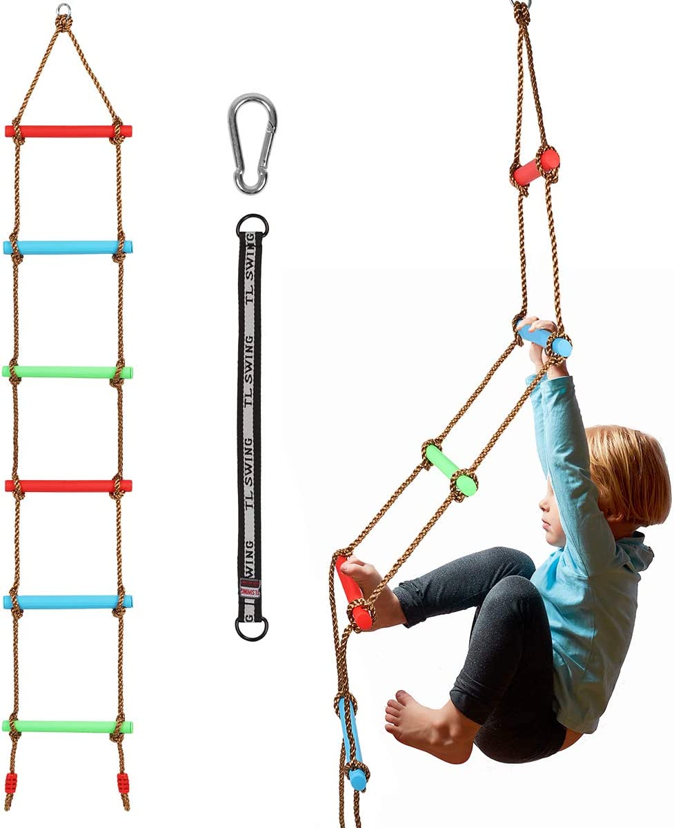 Climbing Rope Ladder for Kids Hanging Ladder for Swing Set Kids Ninja  Course Obstacle Swing Accessories Backyard
