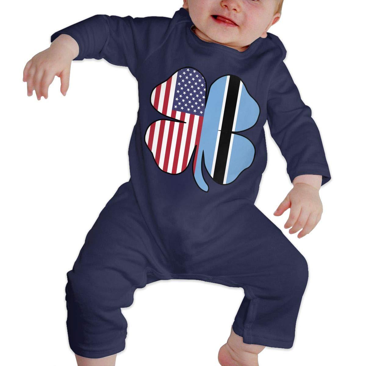 Mri-le1 Baby Girls Coverall American Botswana Flag Shamrock Infant Long Sleeve Romper Jumpsuit