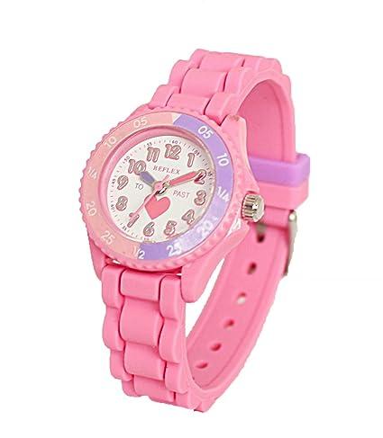 Reloj Reflex BM9 de niña, color rosa, para aprender la hora, correa de silicona, con corazón: Amazon.es: Relojes