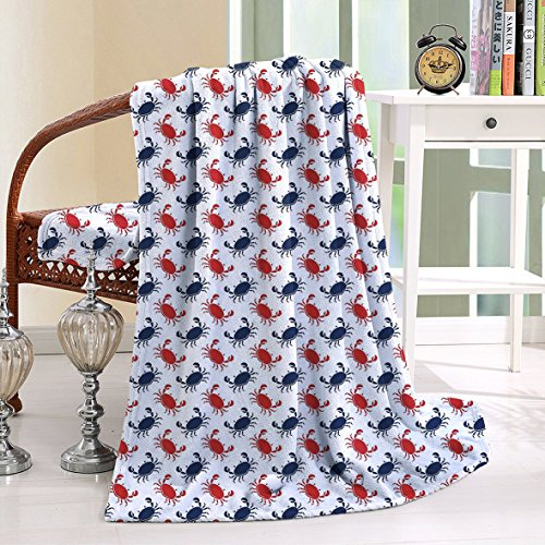HAIXIA Throw Blanket Crabs Sea Animals Crabs on White Vintage Blue and Red (Joseph Wool Flannel)