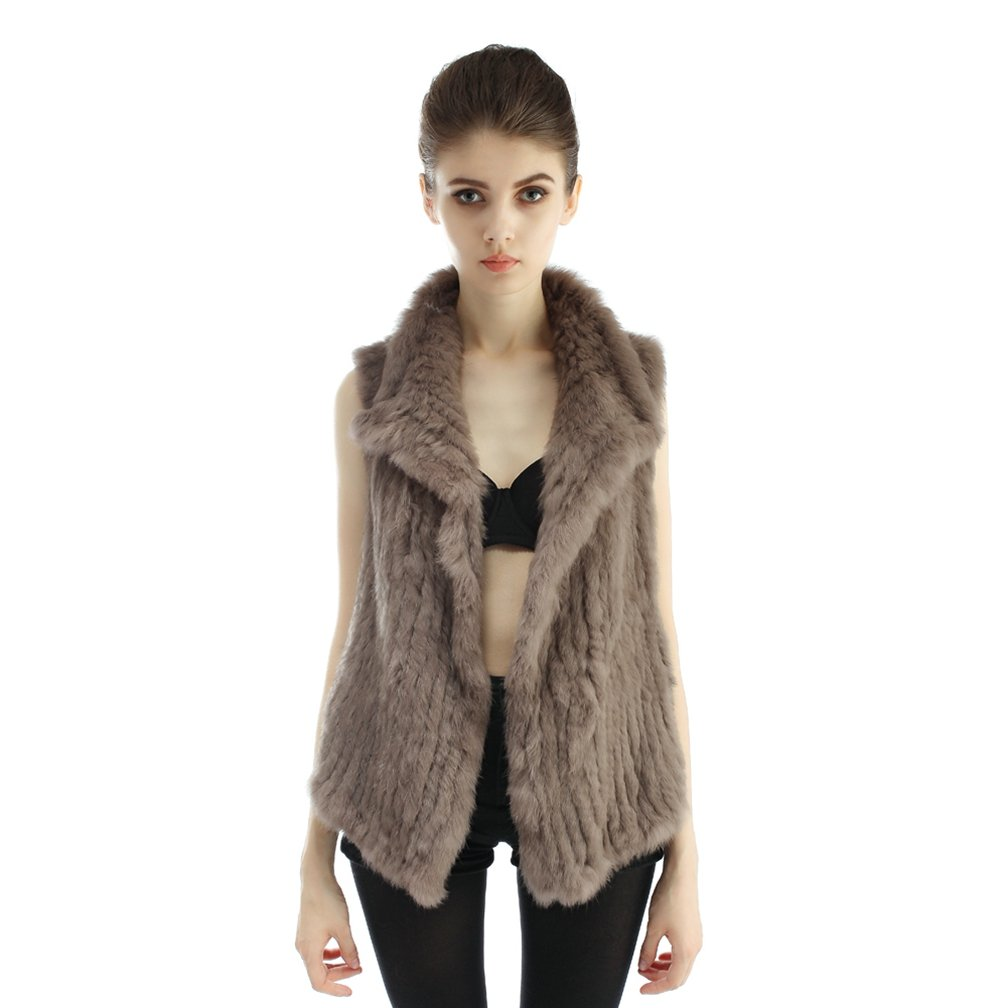 OLLEBOBO Women's Genuine Rabbit Fur Knitted Vest with Collar without Belt