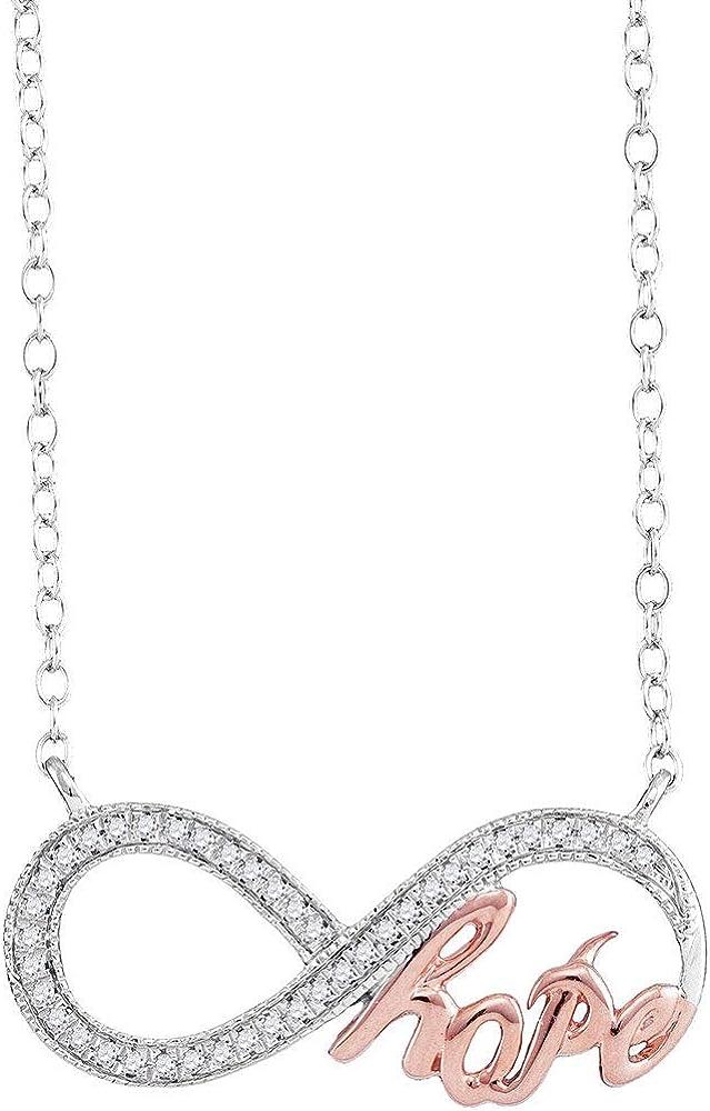 Saris and Things 10k Oro Blanco para Mujer de Diamante Redondo Infinity Esperanza Rose-Tono del Collar Pendiente de 1/10 cttw