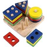 型はめ おもちゃ 積み木 立体パズル 木製 幾何ブロック 形あわせ 棒さし 出産祝い 誕生日のプレゼント 赤ちゃん 幼児 子供教育