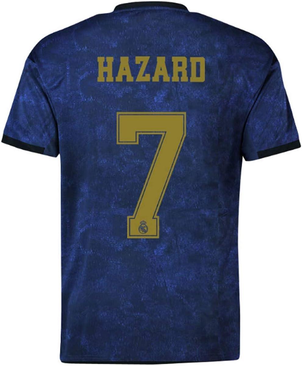 Real Madrid Hazard # 7 Soccer Jersey 2019-2020 Away Mens Jersey Blue