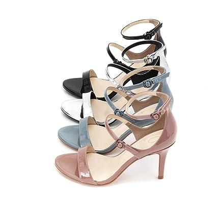 Pattini scalzi nudi di estate dei sandali aperti alla moda femminili  eleganti alla moda dei talloni dell'alto tallone 8cm di cuoio eleganti (  Colore ...