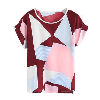 LILICAT® Camisas para Mujeres, Moda Blusa Casual Color de Colisión Estampado geométrico Manga Corta