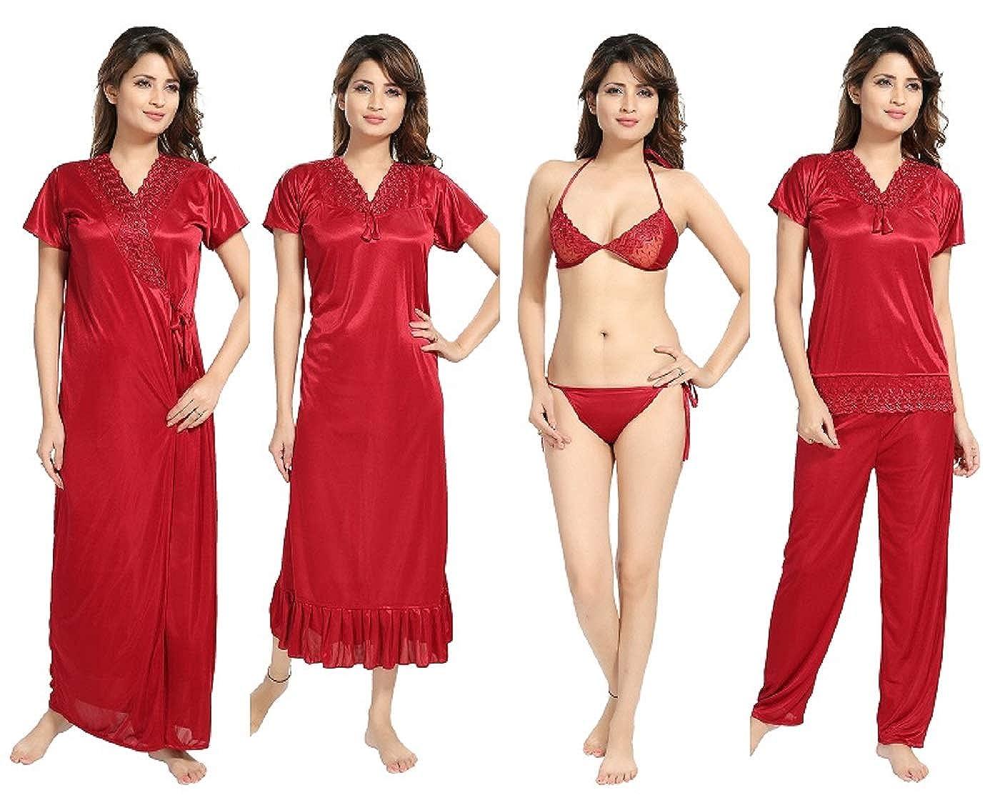 20283745f REPOSEY Women s Satin Nightwear Set of 6 Pcs Robe with Nighty