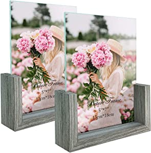 5x7 Photo Picture Frames Glass Set, Frameless Picture Frame Tabletop Display 5x7 Photograph Home Decor, 2 Packs