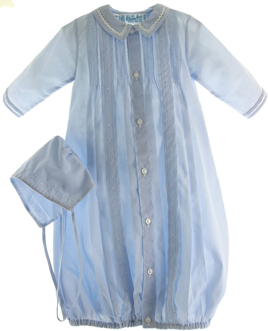 Feltman Brothers Boys Blue Take Home Outfit Gown Hat Layette Set Pintucks
