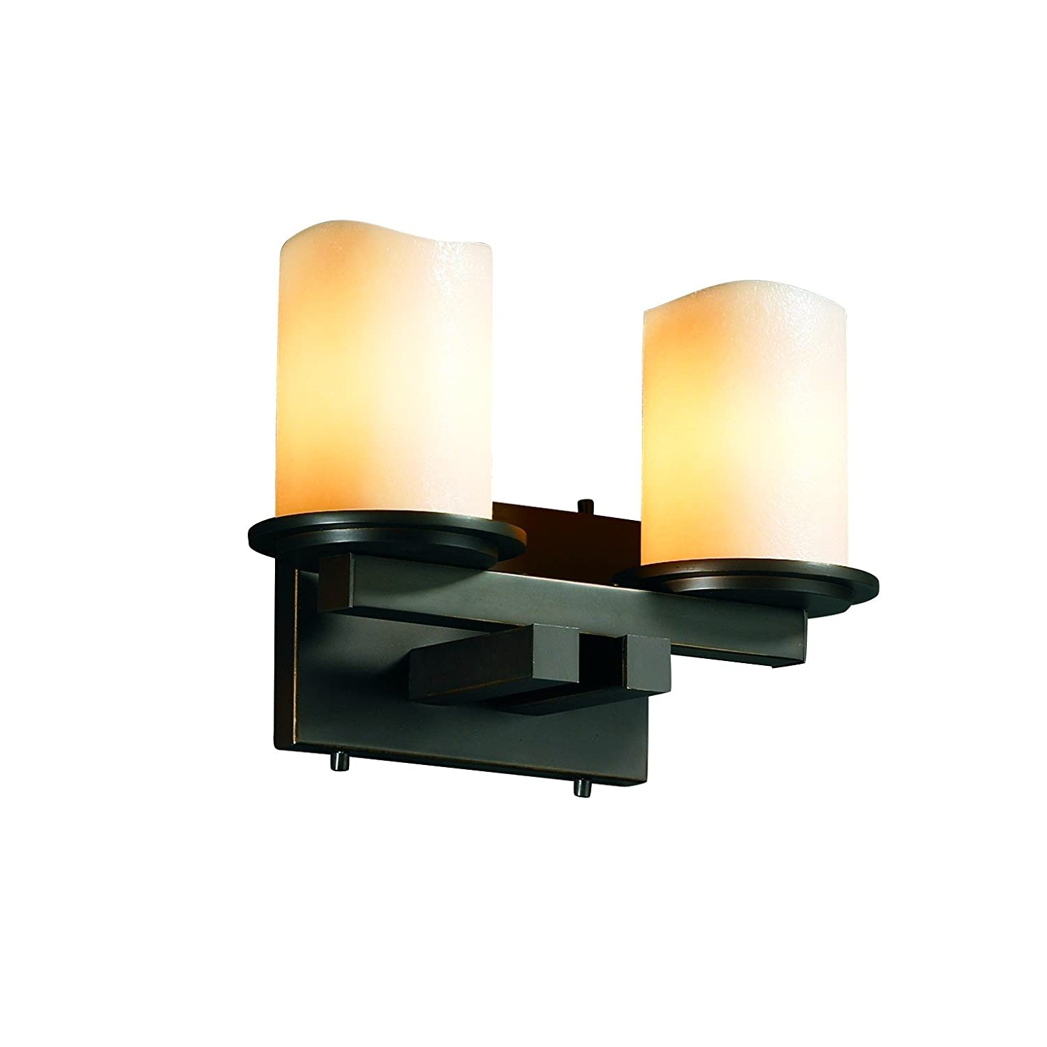 Justice Design Group CandleAria 2-Light Bath Bar - Dark Bronze Finish with Cream Faux Candle Resin Shade