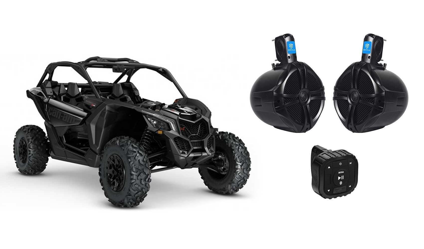 Can-Am MAVERICK X3/X3 Max Boss Bluetooth Controller+(2) 8'' 300w Tower Speakers