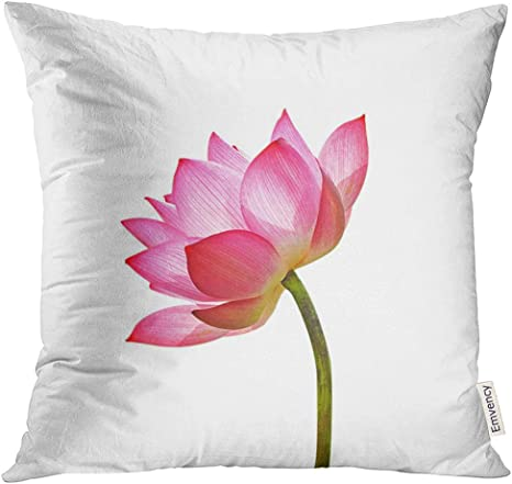 Golee Throw Pillow Cover Pink Tropical Lotus Flower White Garden Lily Decorative Pillow Case Home Decor Square 18x18 Inches Pillowcase Home Kitchen