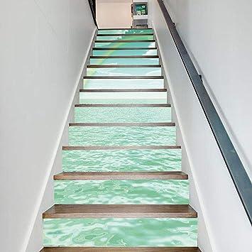 13 Piezas/Juego Papel Autoadhesivo Impermeable 3D Etiqueta De La Pared DIY Reformado Escalera Pegatinas Casa Mar Cielo Pintura 18CN*100CN: Amazon.es: Bricolaje y herramientas