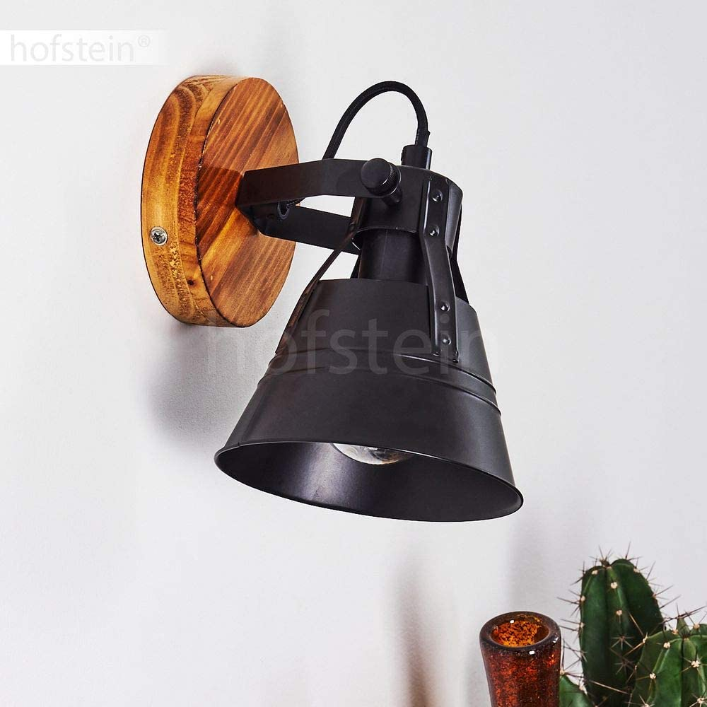 60 Watt for 1 x E27 Bulb max Industrial Style swivelling Wall spot Wall Light Berkeley in Wood and Black Metal Retro Spotlight Fitting in a Vintage Living Room LED Compatible