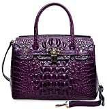 PIJUSHI Women's Padlock Handbags Genuine Leather Tote Crocodile Bag Best Holiday Gift P10103(30CM crocodile Violet)