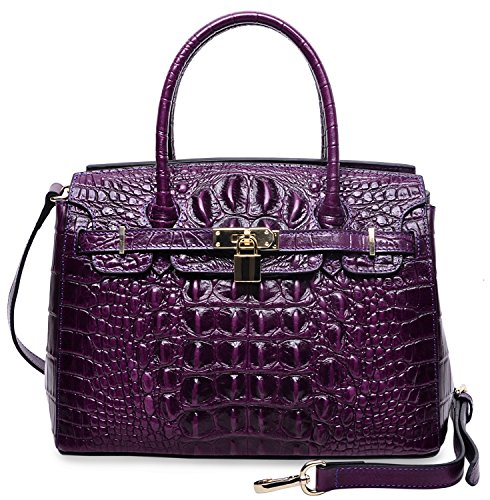 PIJUSHI Women's Padlock Handbags Genuine Leather Tote Crocodile Bag Best Holiday Gift P10103(30CM crocodile Violet) by PIJUSHI