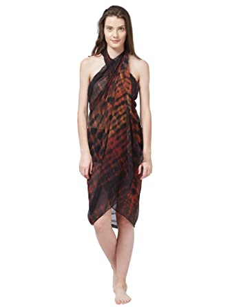 26d38afd06 SOURBH Women's Faux Georgette Beach Wear Wrap Sarong Shibori Printed Pareo  Swimsuit Cover Up (S372_Brown