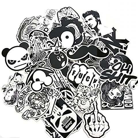 Evinis - 60PCS Random Music Film Vinyl Skateboard Guitar Travel Case Sticker Lot Pack Decals (Decal Stickers Guitar)