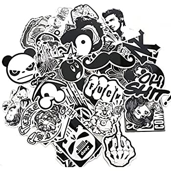 Evinis 60pcs random music film vinyl skateboard guitar travel case sticker lot pack decals