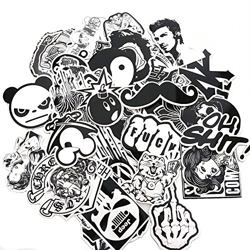 Evinis - 60PCS Random Music Film Vinyl Skateboard Guitar Travel Case Sticker Lot Pack - Decal Pack
