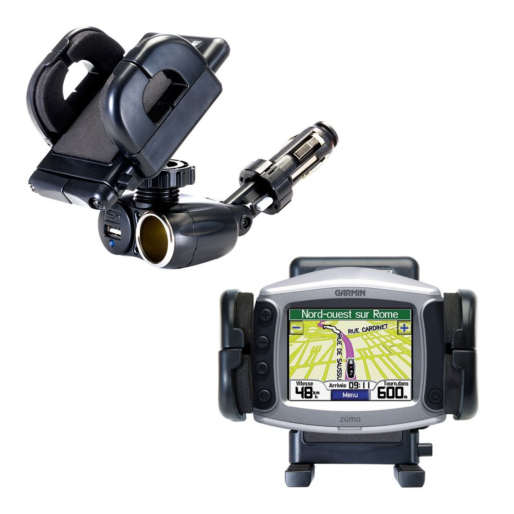 2 in 1 USB Port and 12V Receptacle Mount Holder for the Garmin Zumo 550 Keeps Your Device Secure in Any Car or Truck