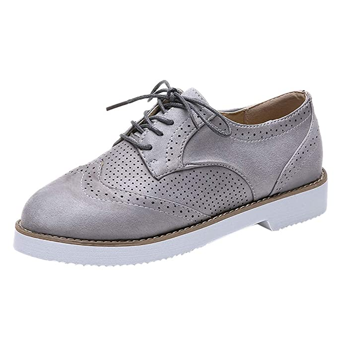 Bestow Zapatos con Cordones Zapatos Deportivos Zapatillas de Gamuza de Fondo Plano, Zapatos de Mujer Casuales: Amazon.es: Ropa y accesorios