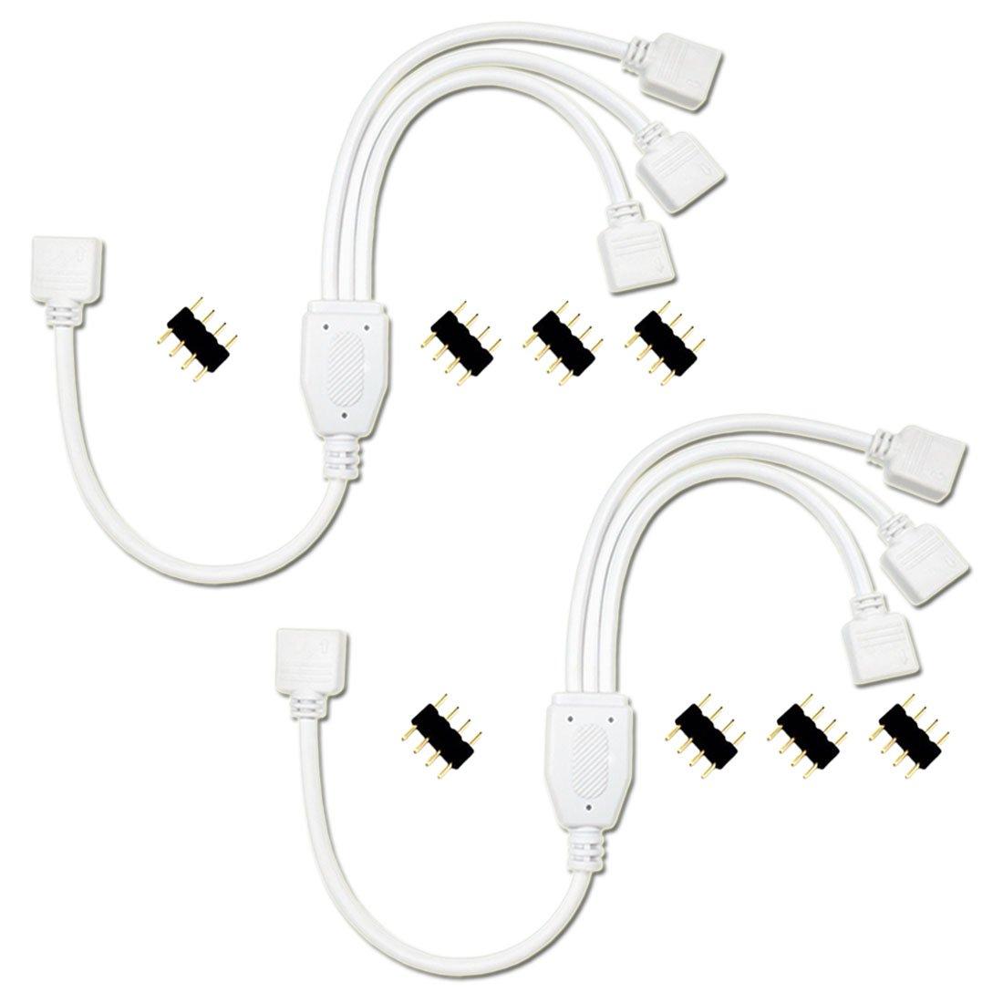 Liwinting 2piezas 4pin 1 a 3 Puertos Cable Divisor de LED Conector LED Y Splitter para