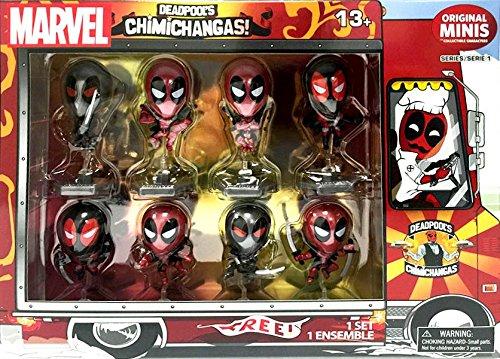 Exclusive Deadpool Metallic Chrome Figure Set Of 8 Chimichanga Truck Package