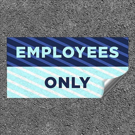 CGSignLab |''Employees Only -Stripes Blue'' Heavy-Duty Industrial Self-Adhesive Aluminum Wall Decal | 24''x12''