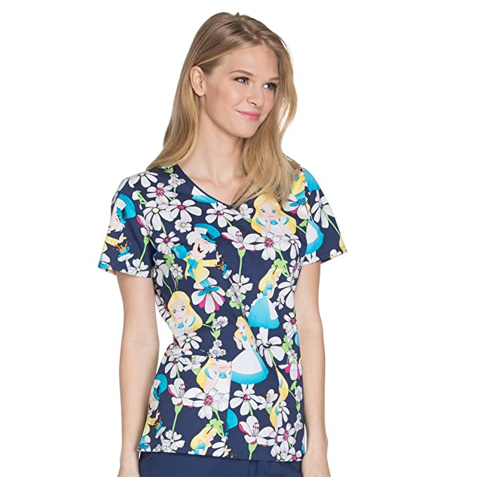 8a5d5fa8292 Cherokee Tooniforms Women's V-Neck Alice in Wonderland Print Scrub Top  Small Print