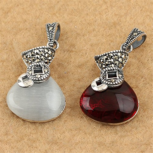 Marcasite Eyes Pendant - MFMei Thai Sterling Silver Marcasite Mixed Color Cat's eye Bag Pendant (CY108) (Red)