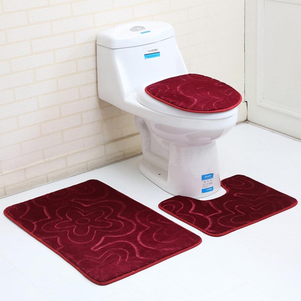Creazy 3PC Bathroom Set Rug Contour Mat Toilet Lid Cover Plan Solid Color Bath Mats (F)