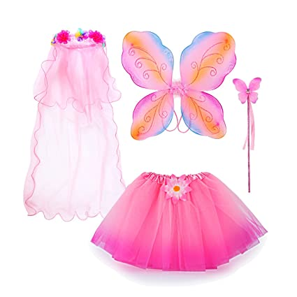 7598361cf9df Amazon.com: Fairy Costume, Sinuo Costume Set With Wings,Tutu,Wand and Veil  Princess Set Fit Girls Age 3-8(Pink): Toys & Games