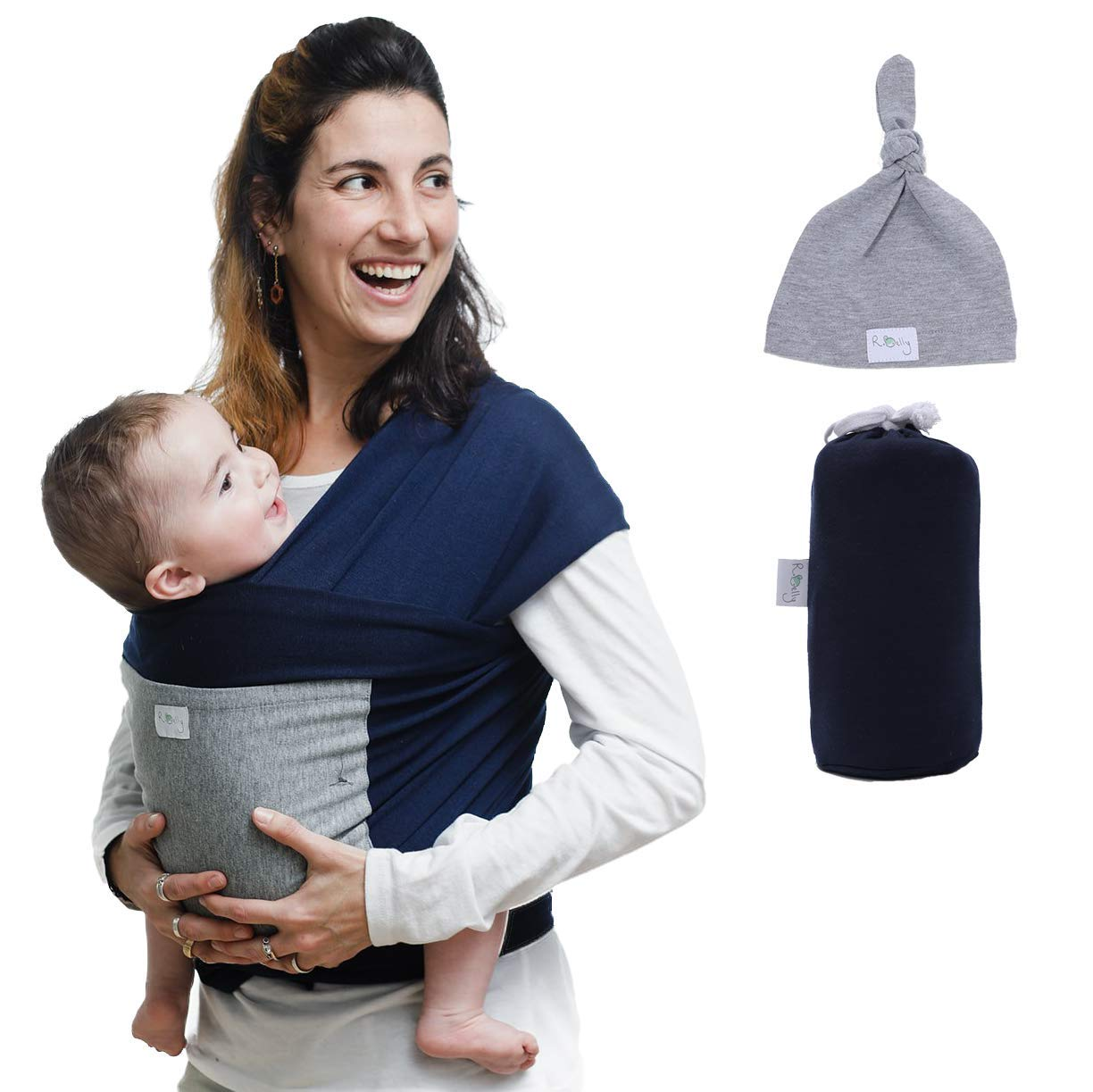 Baby Wrap Sling Carrier With A Free Matching Hat And Front Pocket Multi Use Soft Natural Eco Friendly