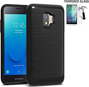Phone Case Compatible for Samsung Galaxy J2-Core Case, J260 Case, J2-Dash Case, J2-Pure Tempered Glass with Brush Shockproof Dual-Layered Cover (Brush Black/Tempered Glass)