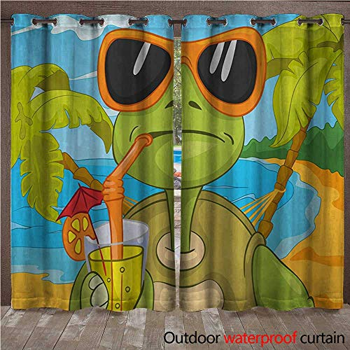 - WilliamsDecor Turtle Outdoor Curtains for Patio Sheer Cool Sea Turtle with Sunglasses Drinking Cocktail at The Beach Cartoon W72 x L96(183cm x 245cm)