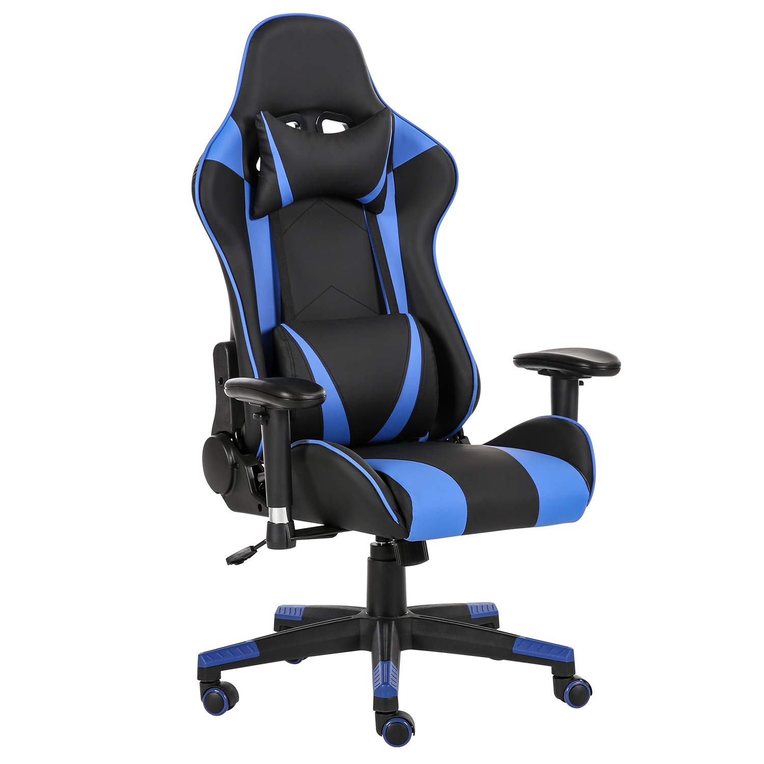 LCH Gaming Racing Chair Ergonomic High-Back Adjustment Computer Desk Chair PU Leather Executive Office Swivel Chairs with Headrest and Lumbar Support, Black