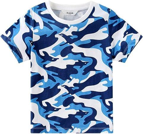 LF Pack De 1 Niño Camisetas,Camiseta De Suéter De Manga Corta con Cuello Redondo Estampado En Blanco Y Azul Camisa De Manga Niños,Blue-51in: Amazon.es: Hogar