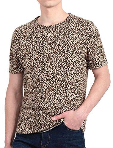 (uxcell Men Fashion Casual Round Neck Short Sleeve Leopard Print Tee Shirt (US 38) Medium Beige Black)