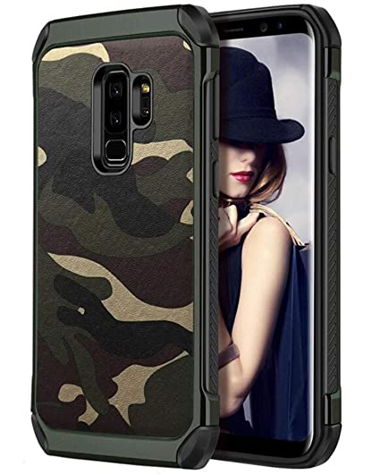 timeless design 96ae6 3d76f FDTCYDS S9 Plus Case Shockproof Hybrid Rugged Camouflage Cover Case for for  Samsung Galaxy S9 Plus - Camo Green