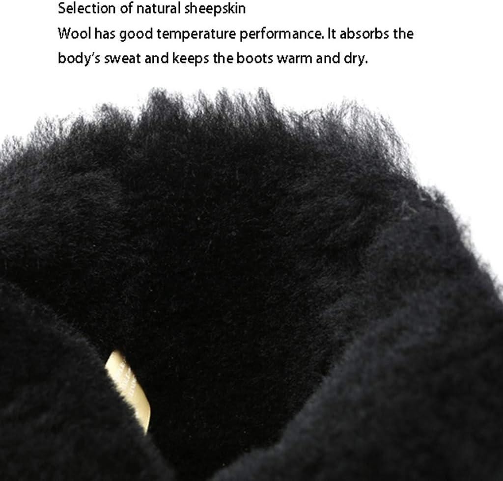 Botas Invierno Metal Negro Punk Viento Piel de Las ovejas Uno de Nieve Mujer de la Cremallera Lateral de la Hebilla Impermeables Black-a ffq1o