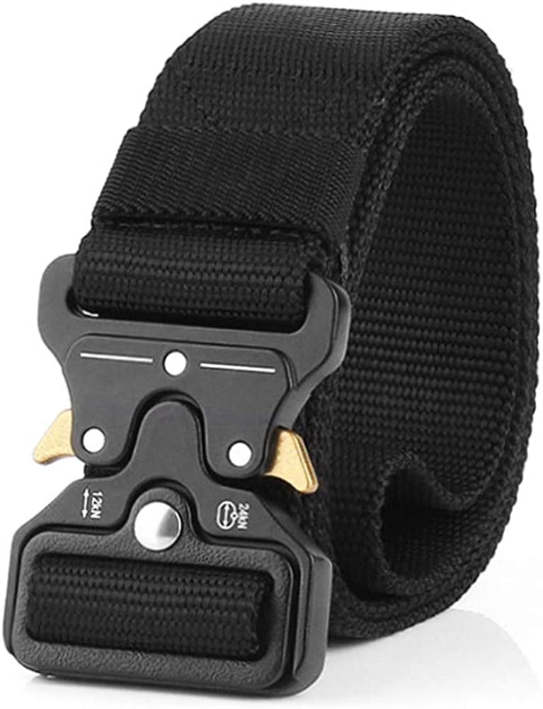 """Tactical Belt, Quick Release Nylon Belt, Military Utility Web Rigger Belt with Heavy Duty Buckle for Mens Women, Black 1.5"""" Width"""