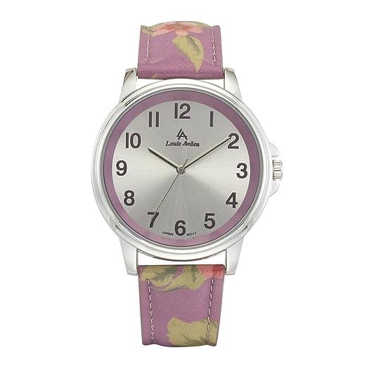 Louis Arden la7287slprl con funda de plata y morado con flores correa de piel: Louis Arden: Amazon.es: Relojes